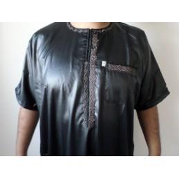 Qamis Ikaf Glacé ( brodé ) - Noir