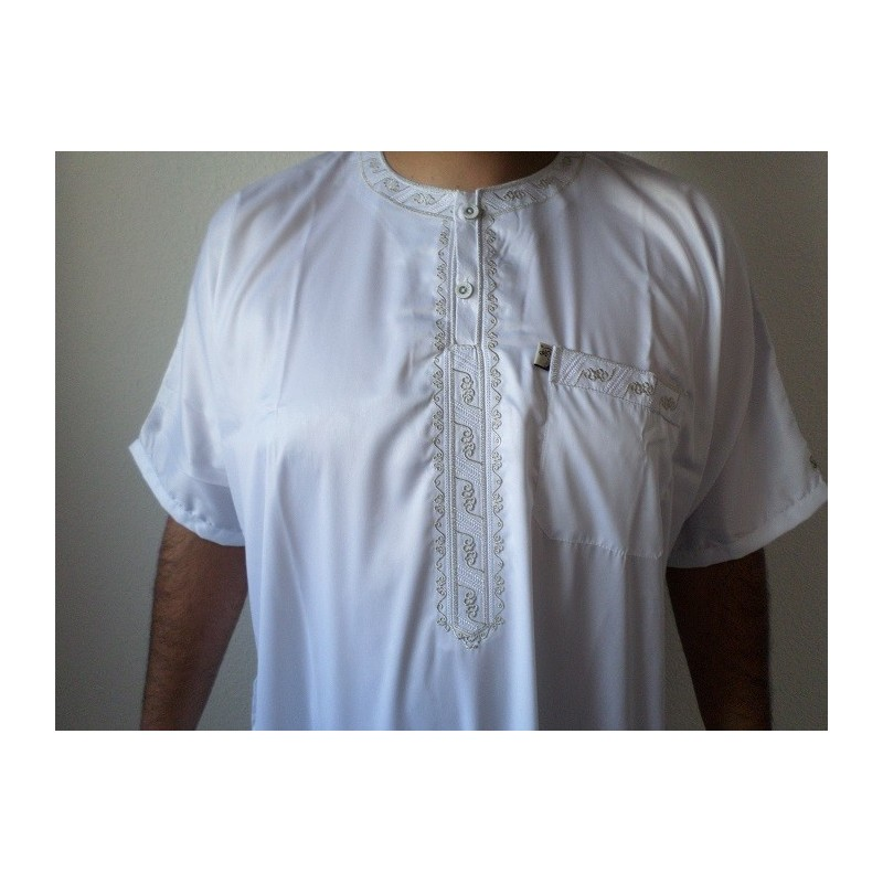 Qamis Ikaf ( brodé ) - Blanc