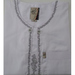 Qamis Ikaf Enfant ( brodé ) - Blanc
