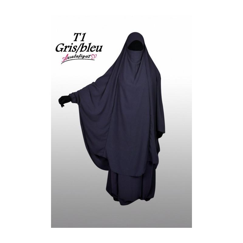 Jilbab Assalafiyat - Gris/Bleu