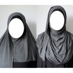 Hijab Easy Facile à Enfiler - Gris Anthracite