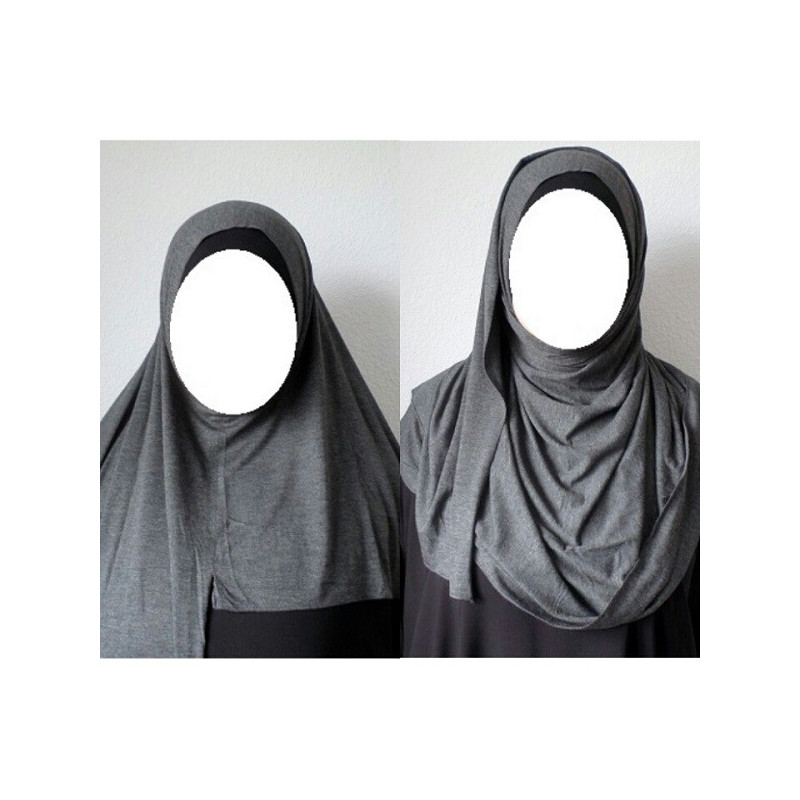 Hijab Easy Facile à Enfiler - Gris Anthracite