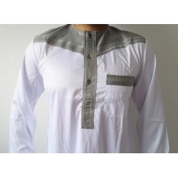 Qamis Pakistanais Bicolore Al Atlas - Blanc / Gris