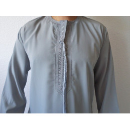 Qamis Fadel Omani Manches Longues - Gris