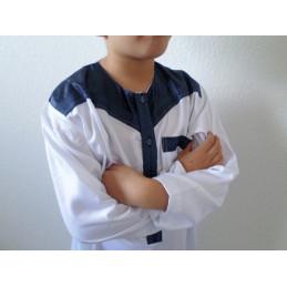 Qamis Enfant Atlas Dubaï - Blanc / Bleu