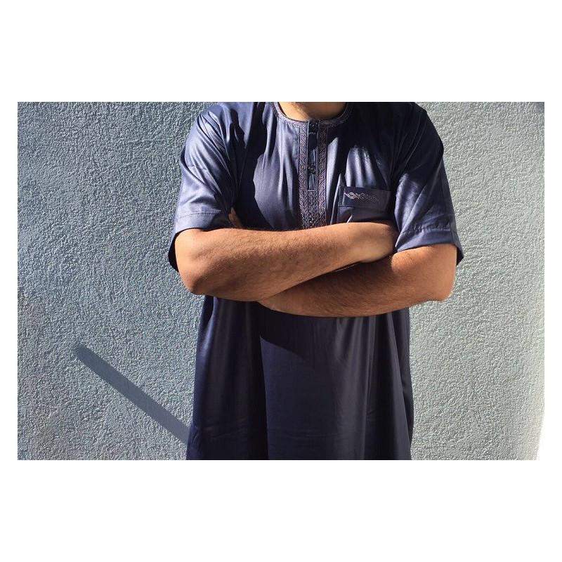 Qamis Atlas Dubaï uni - Bleu nuit