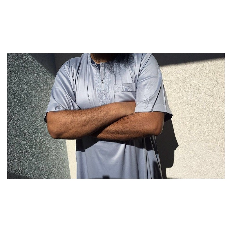 Qamis Atlas Dubaï uni - Bleu dragée