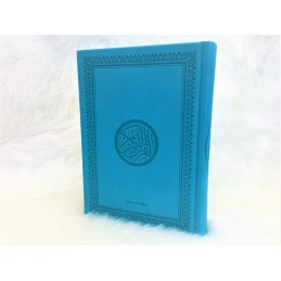 Coran Couleur Version Arabe Couverture Daim ( Hafs ) - Bleu Turquoi