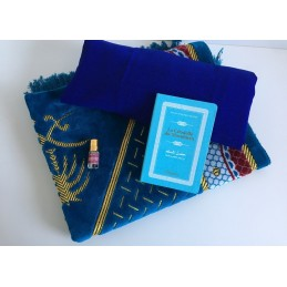 Coffret Cadeau Tapis de Prière + Jilbab + Citadelle + Musc OFFERT Bleu Azza