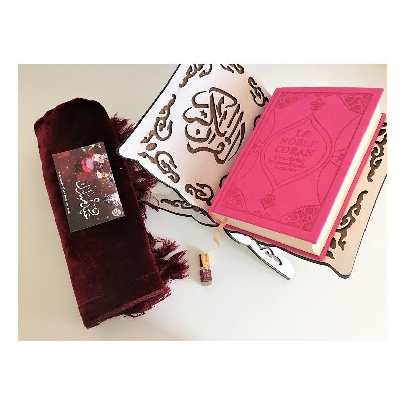 Pack Cadeau Coran + Porte Coran + Tapis de Prière + Musc Rose