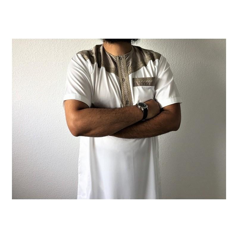 Qamis Pakistanais Al Atlas M.C - Blanc / Beige