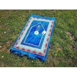 Tapis de Prière Bleu avec Boussole intégrée Bleu Ciel