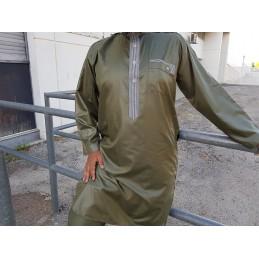 Qamis Pakistanais Afghani ( Tunique + Pantalon ) - Vert Kaki