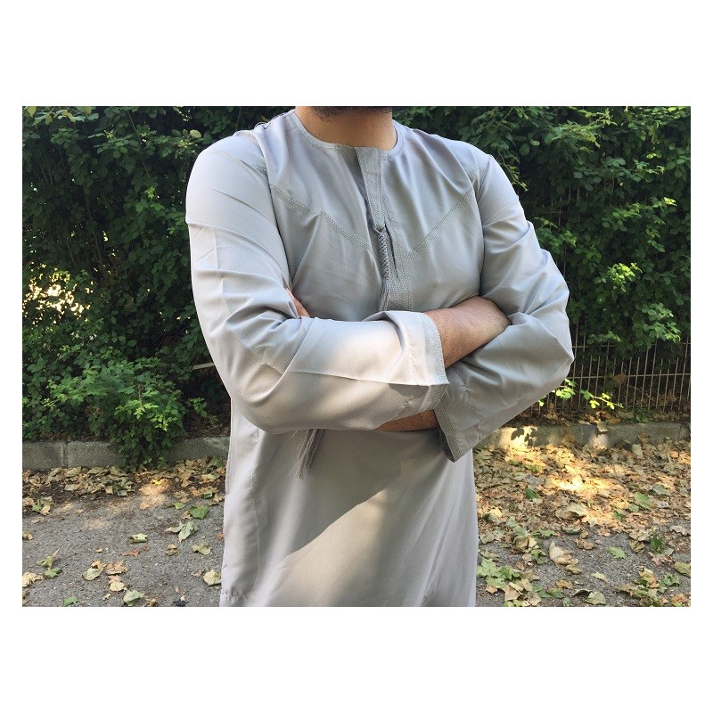 Qamis Fadel Omani Manches Longues - Gris