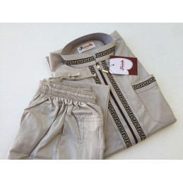 Qamis Enfant KHAL Dubaï + pantalon - Taupe