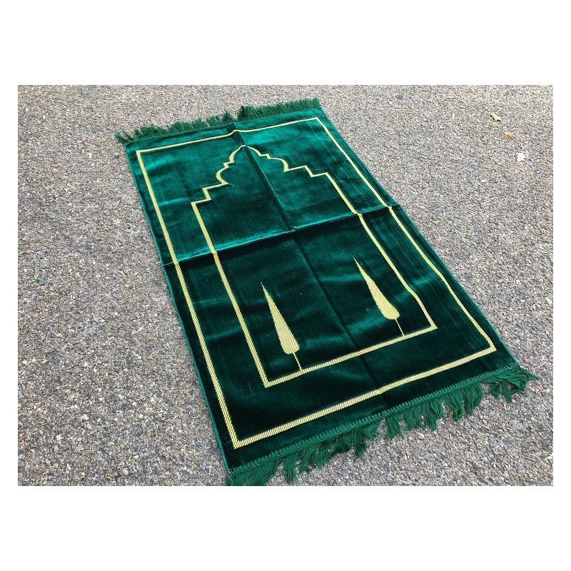 Tapis de Prière Uni en Velours - Vert Kaki