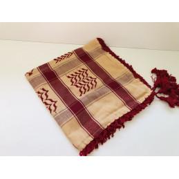 Ghutra Keffieh de qualité - Beige / Bordeaux