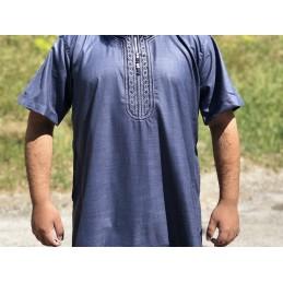 Qamis Manches Courtes El Othaiman Style Marocain - Bleu
