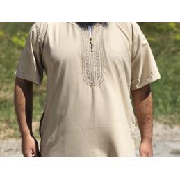 Qamis Manches Courtes El Othaiman Style Marocain - Beige