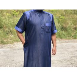 Qamis Col Al Othaiman Manches Courtes Style Jeans - Bleu