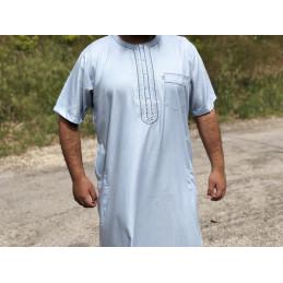 Qamis Manches Courtes El Othaiman Style Marocain - Bleu Ciel