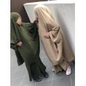 Jilbab Fillette Cape + Jupe - Vert Kaki