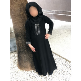 Abaya Fillette Dubai Noir/Argenté - Doha