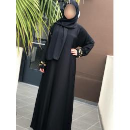Abaya Dubai Nidha Brodée aux Manches - Noir