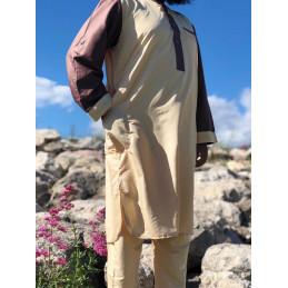 Qamis Dubai Pakistanais Bicolore Afghani ( Tunique + Pantalon ) - Beige