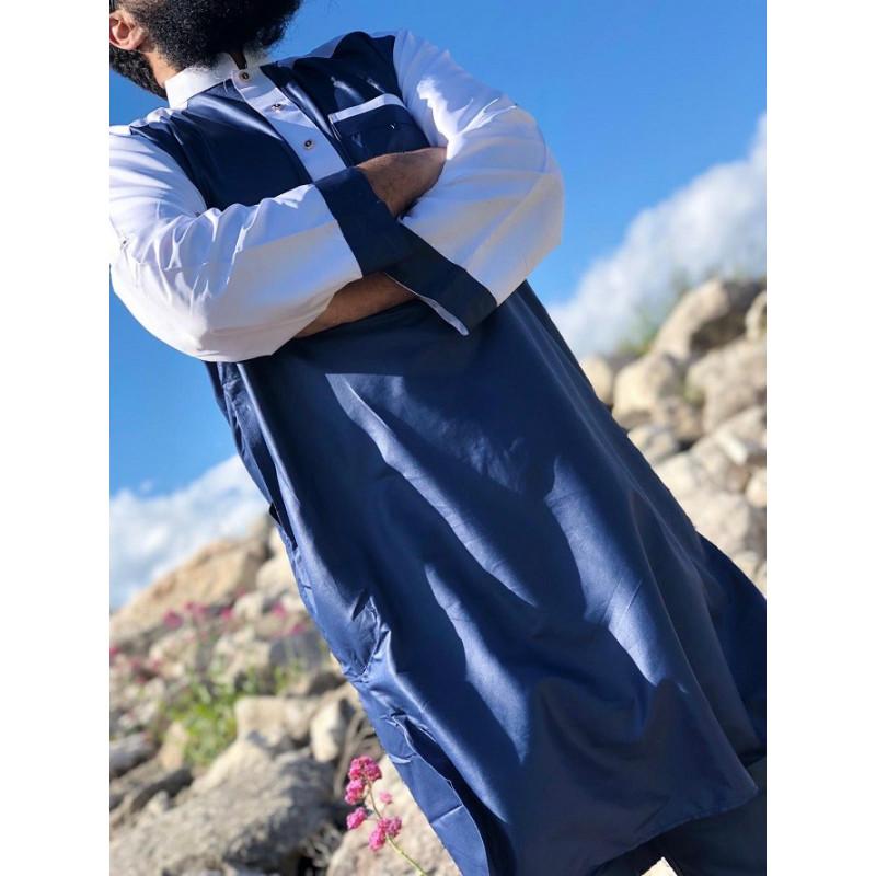 Qamis Pakistanais Afghani - Bleu Marine