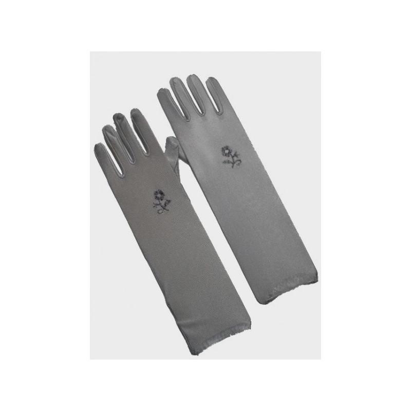 gants fleur brodée gris foncé