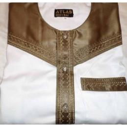 Qamis Atlas Dubai M.L Blanc-Marron